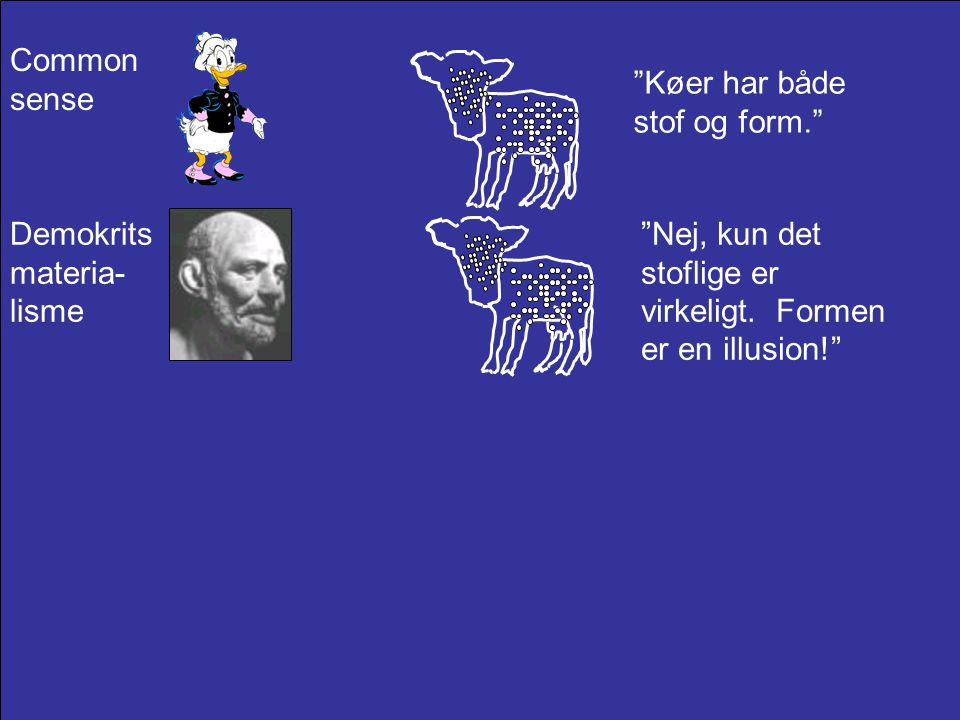 Common sense Køer har både stof og form. Demokrits materia-lisme.