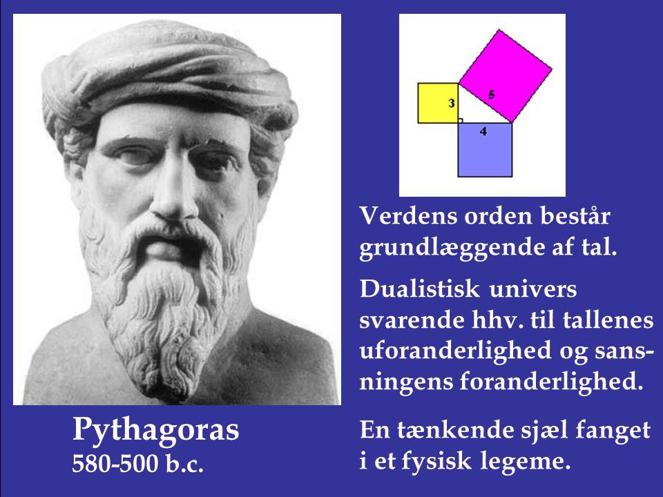 Pythagoras 580-500 b.c. Verdens orden består grundlæggende af tal.