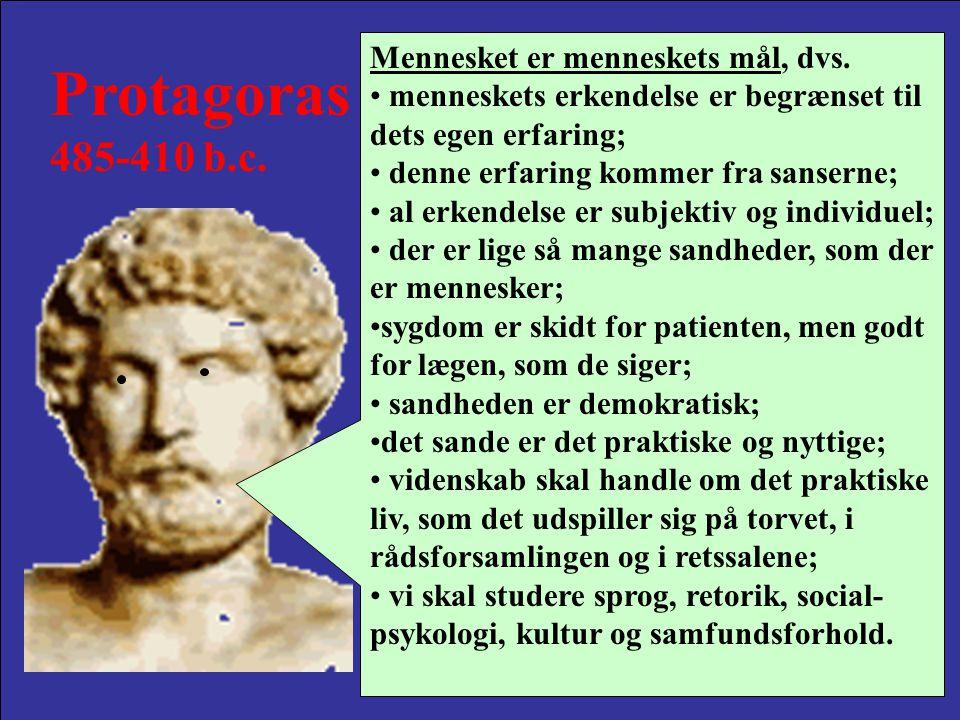 Protagoras 485-410 b.c. Mennesket er menneskets mål, dvs.