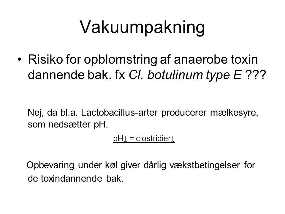 Vakuumpakning Risiko for opblomstring af anaerobe toxin dannende bak. fx Cl. botulinum type E