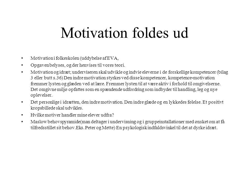 Motivation foldes ud Motivation i folkeskolen (uddybelse af EVA,