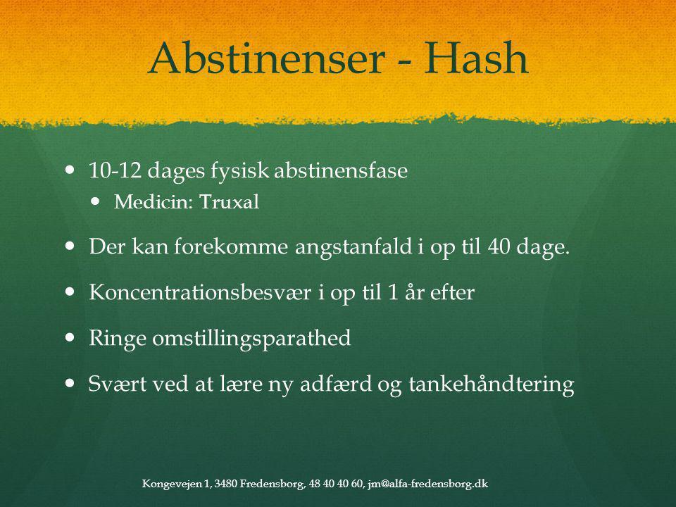 Abstinenser - Hash 10-12 dages fysisk abstinensfase