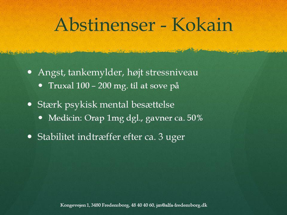 Abstinenser - Kokain Angst, tankemylder, højt stressniveau