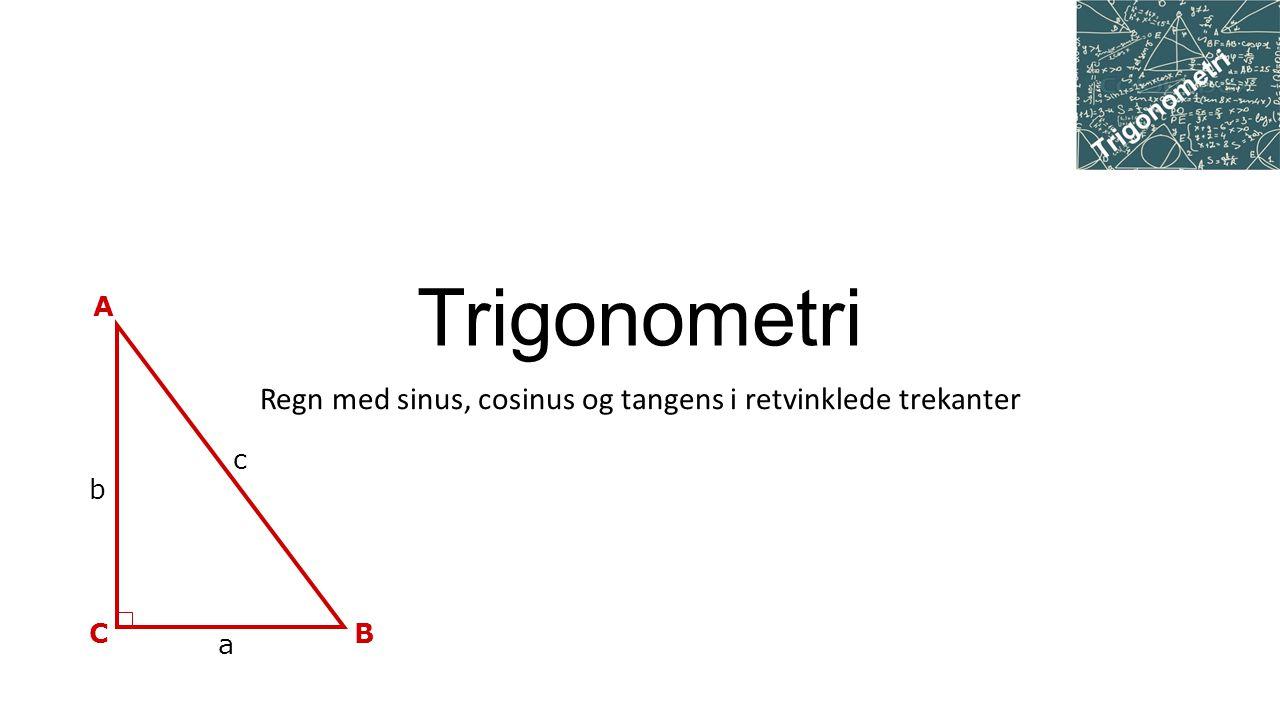Regn med sinus, cosinus og tangens i retvinklede trekanter