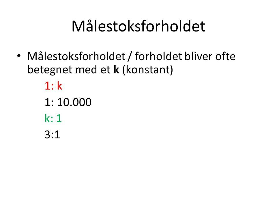 Målestoksforholdet Målestoksforholdet / forholdet bliver ofte betegnet med et k (konstant) 1: k. 1: 10.000.