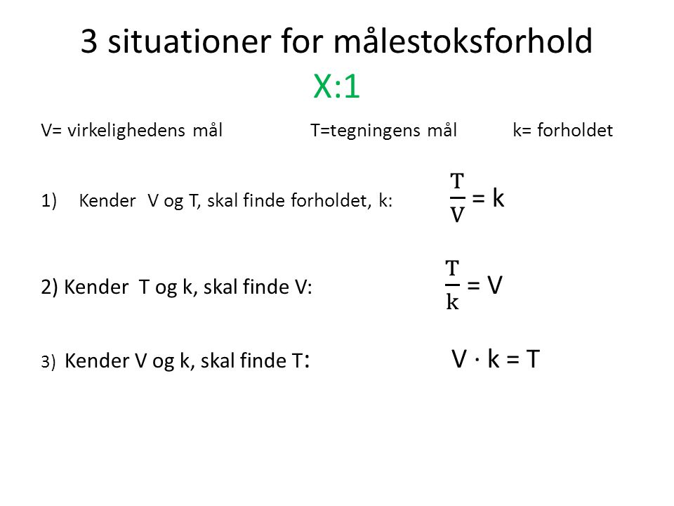 3 situationer for målestoksforhold X:1