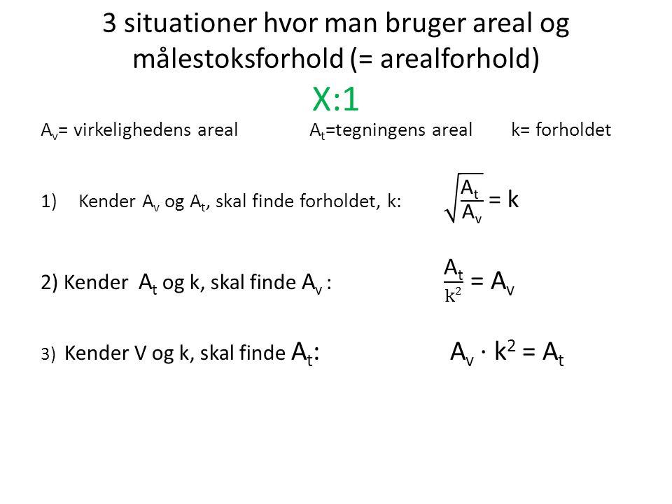 3 situationer hvor man bruger areal og målestoksforhold (= arealforhold) X:1
