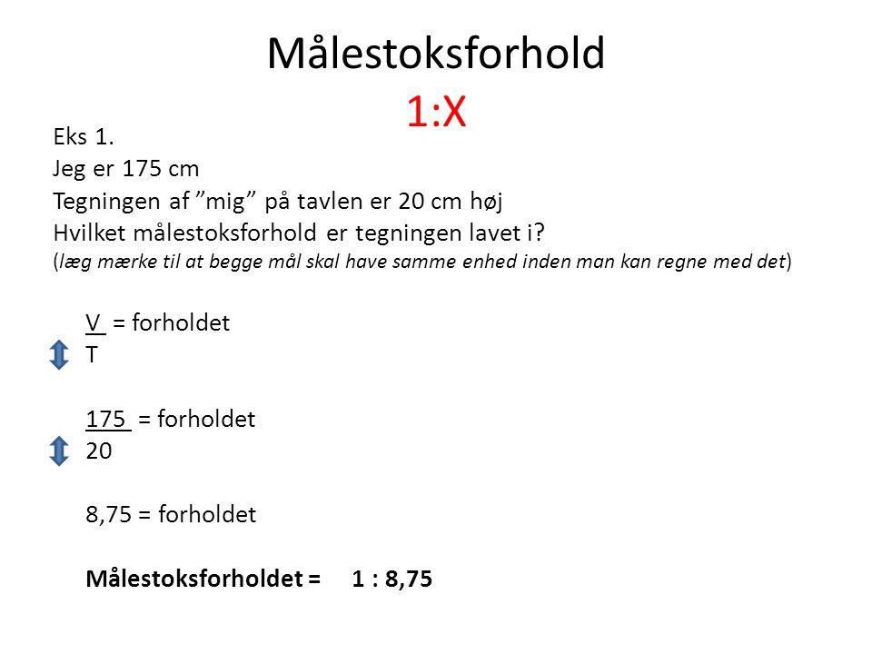 Målestoksforhold 1:X Eks 1. Jeg er 175 cm