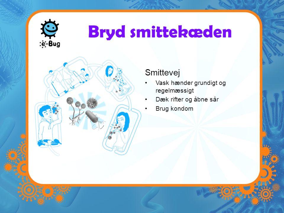 Bryd smittekæden Smittevej Vask hænder grundigt og regelmæssigt