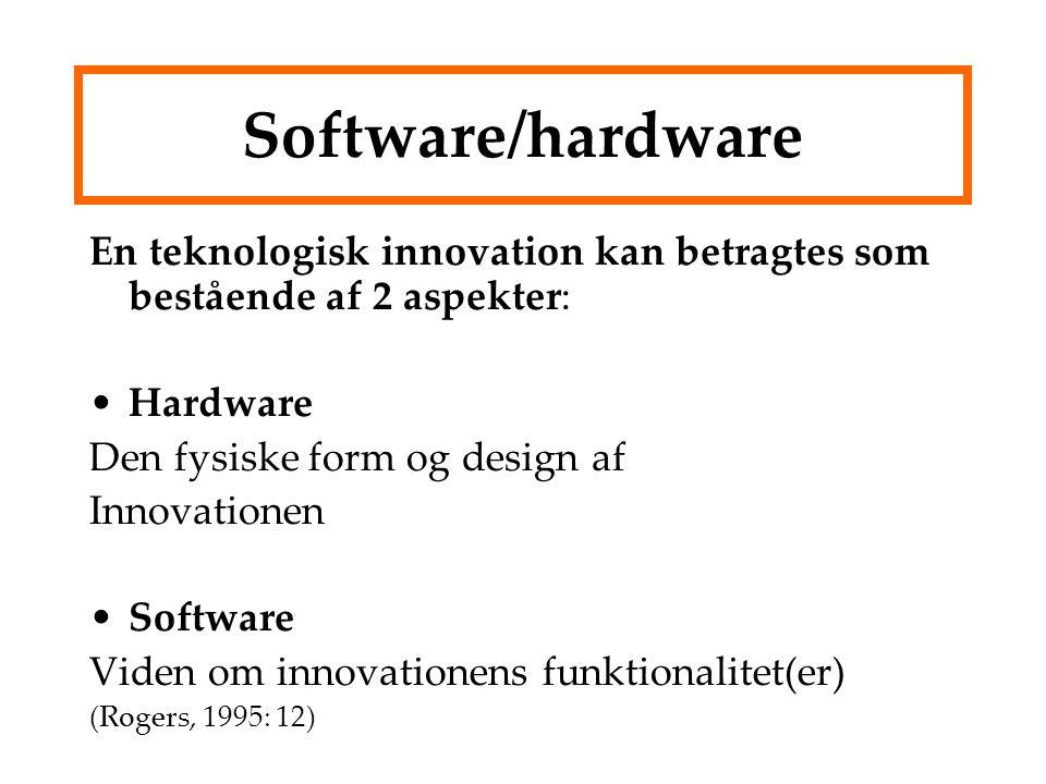 Software/hardware En teknologisk innovation kan betragtes som bestående af 2 aspekter: Hardware. Den fysiske form og design af.