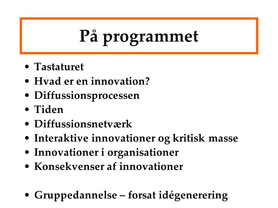 På programmet Tastaturet Hvad er en innovation Diffussionsprocessen
