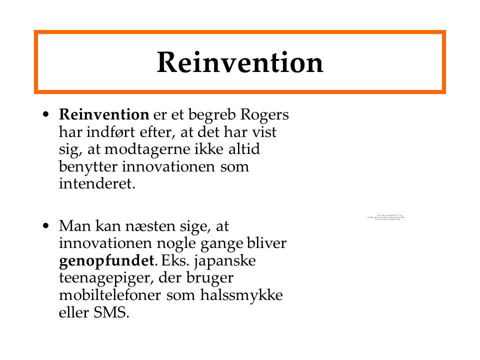 Reinvention Reinvention er et begreb Rogers har indført efter, at det har vist sig, at modtagerne ikke altid benytter innovationen som intenderet.
