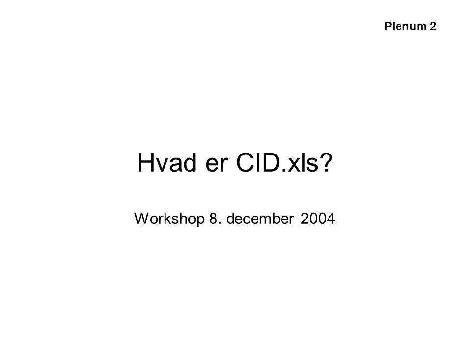 Hvad er CID.xls Workshop 8. december 2004