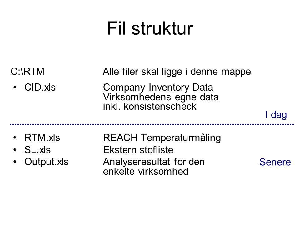 Fil struktur C:\RTM Alle filer skal ligge i denne mappe
