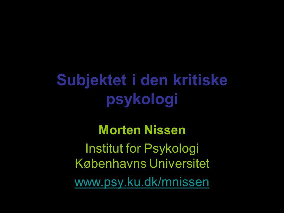 Subjektet i den kritiske psykologi