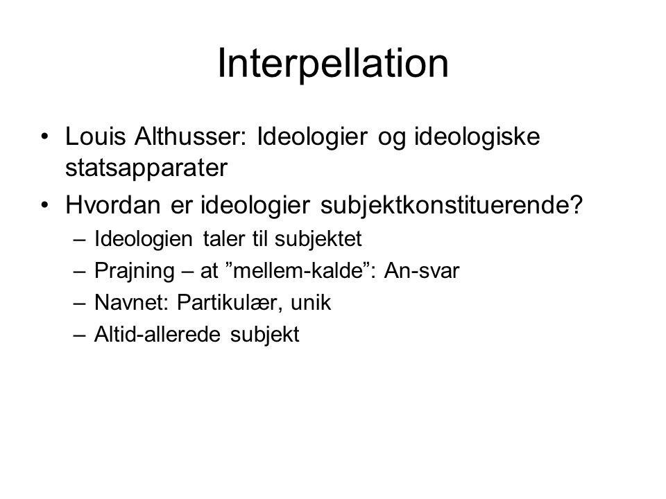 Interpellation Louis Althusser: Ideologier og ideologiske statsapparater. Hvordan er ideologier subjektkonstituerende
