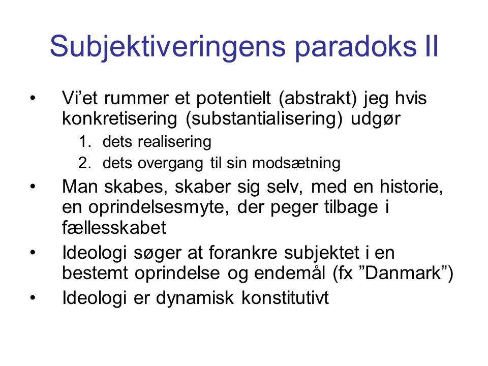 Subjektiveringens paradoks II