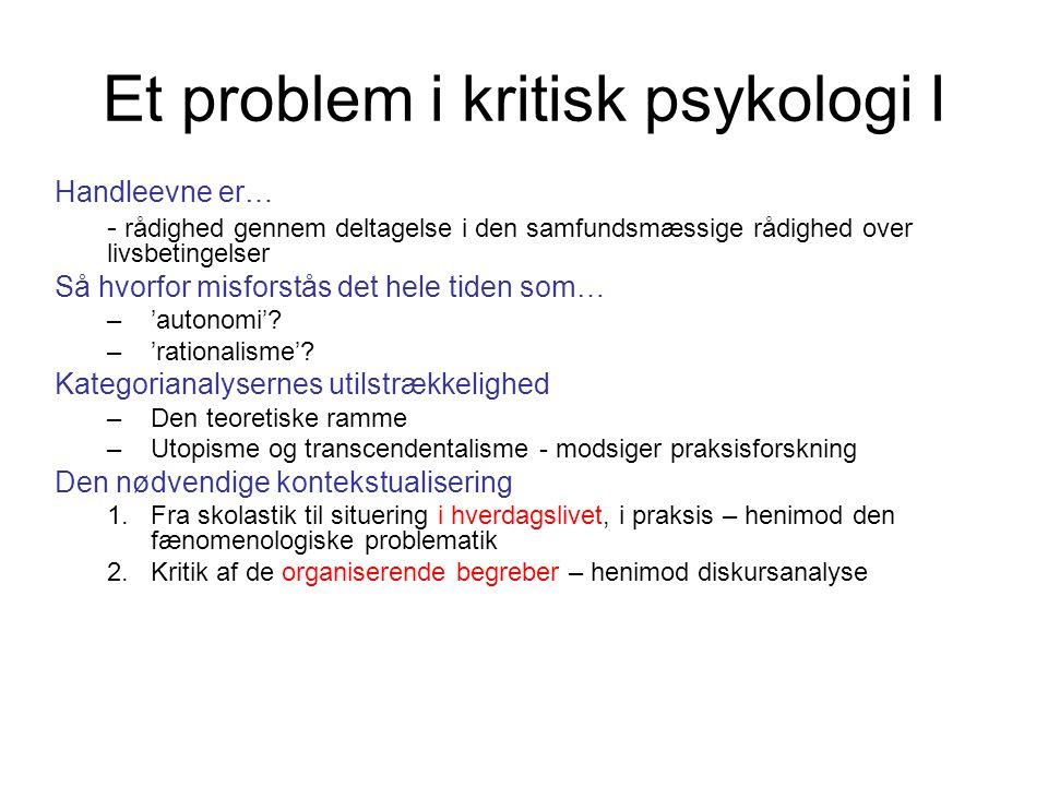 Et problem i kritisk psykologi I