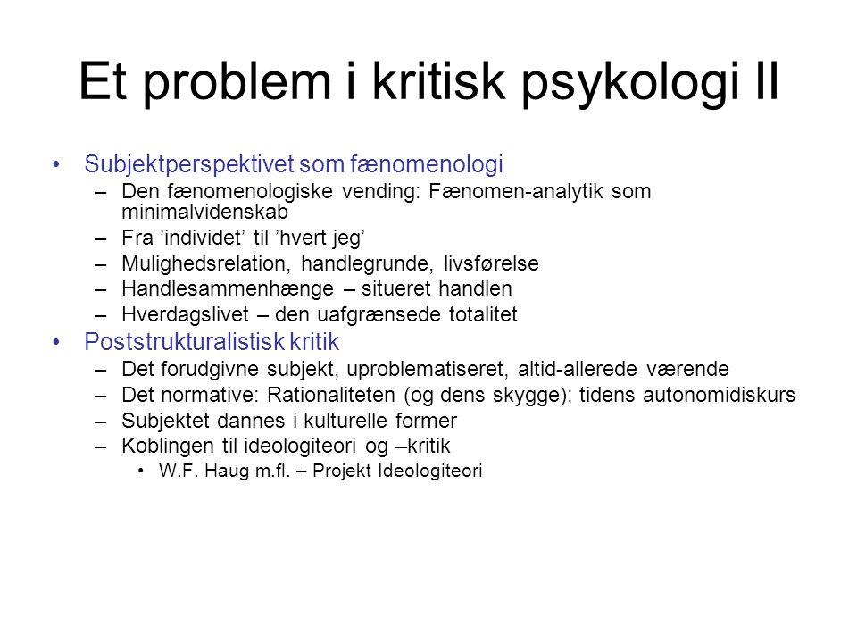 Et problem i kritisk psykologi II