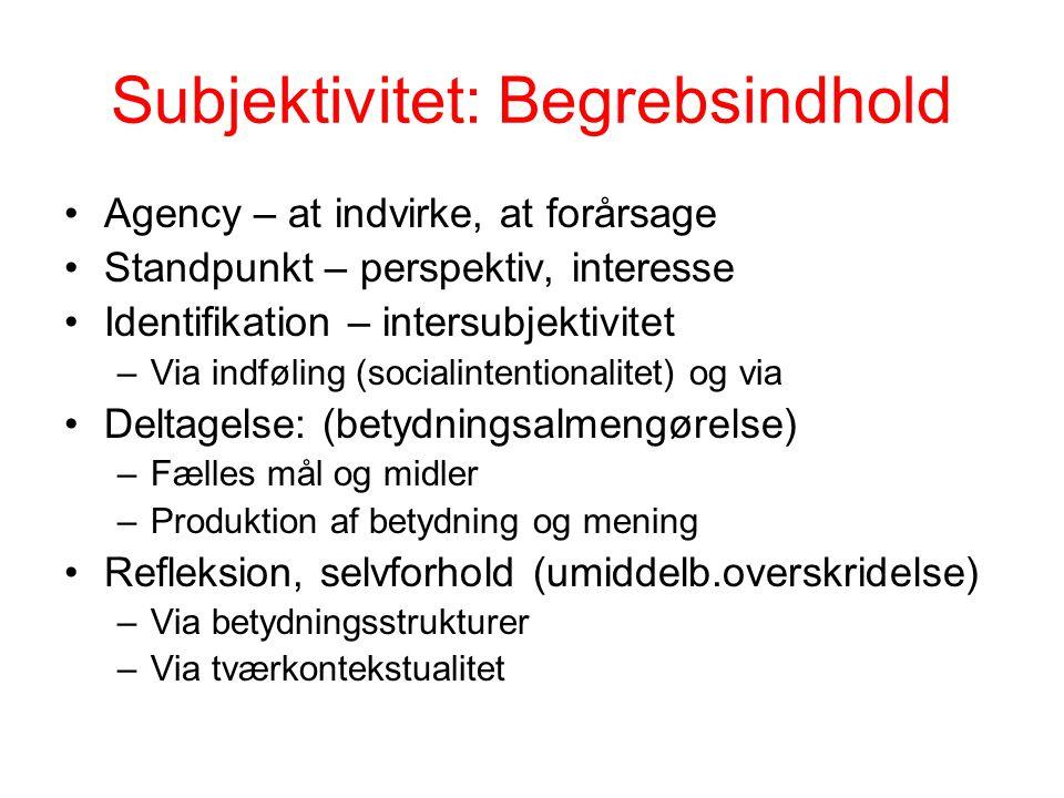 Subjektivitet: Begrebsindhold