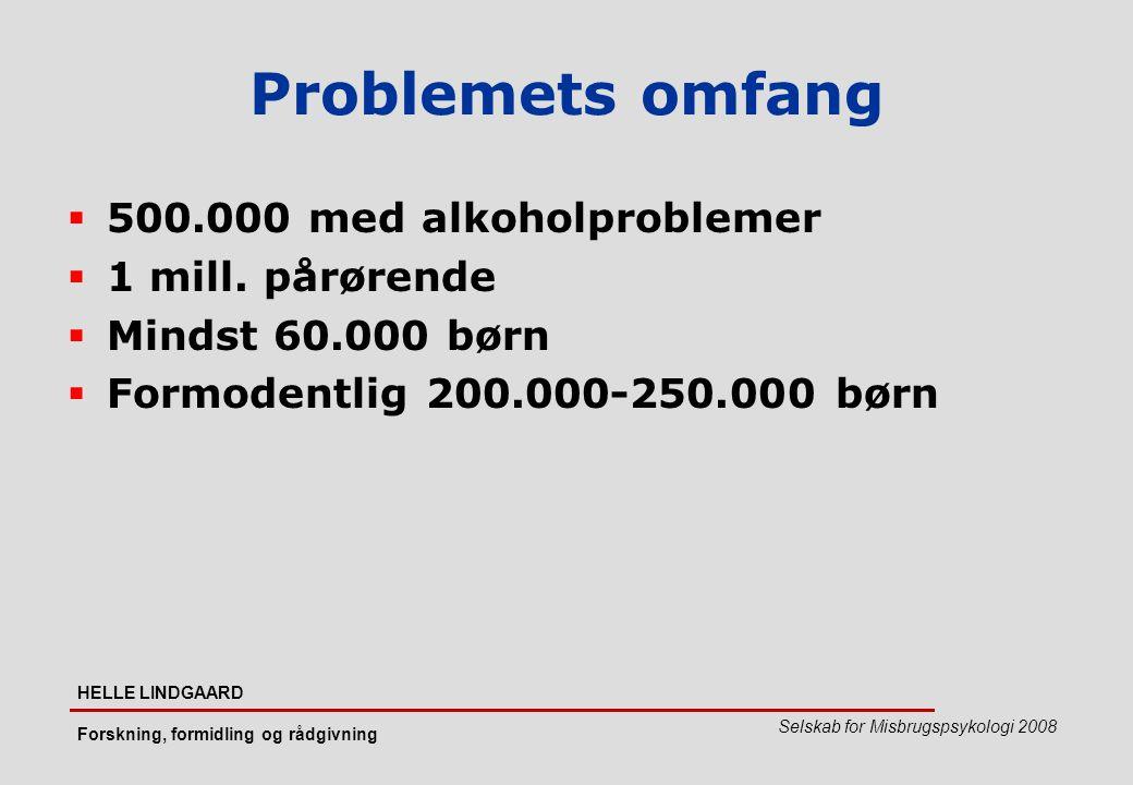 Problemets omfang 500.000 med alkoholproblemer 1 mill. pårørende