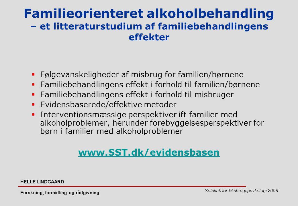 Familieorienteret alkoholbehandling – et litteraturstudium af familiebehandlingens effekter