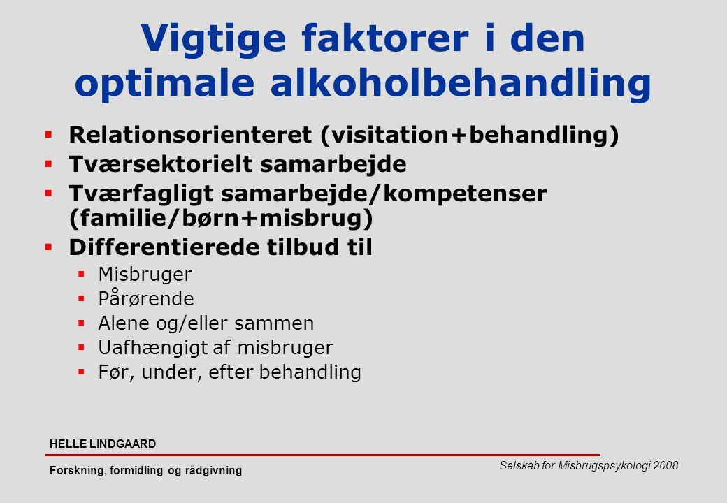Vigtige faktorer i den optimale alkoholbehandling