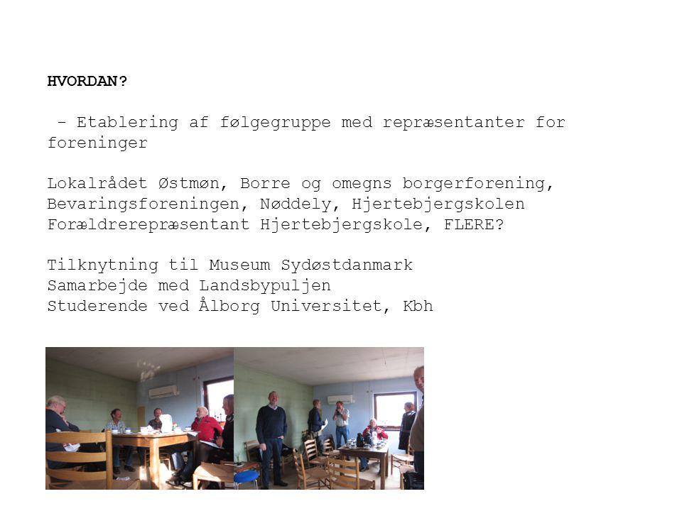 HVORDAN - Etablering af følgegruppe med repræsentanter for foreninger. Lokalrådet Østmøn, Borre og omegns borgerforening,