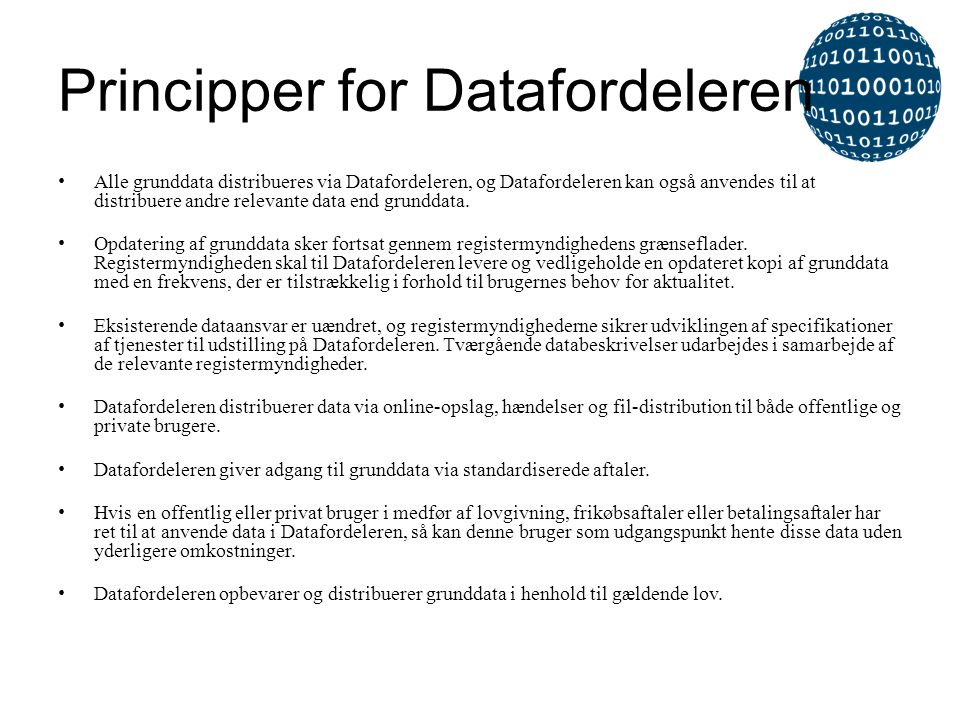 Principper for Datafordeleren