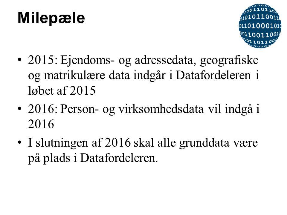 Milepæle 2015: Ejendoms- og adressedata, geografiske og matrikulære data indgår i Datafordeleren i løbet af 2015.