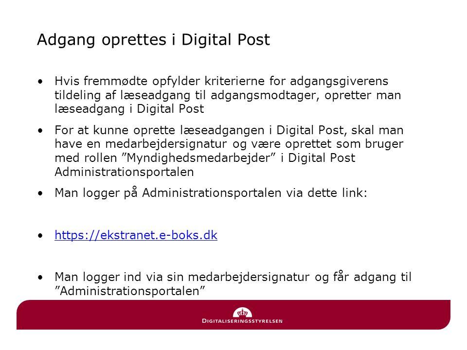 Adgang oprettes i Digital Post
