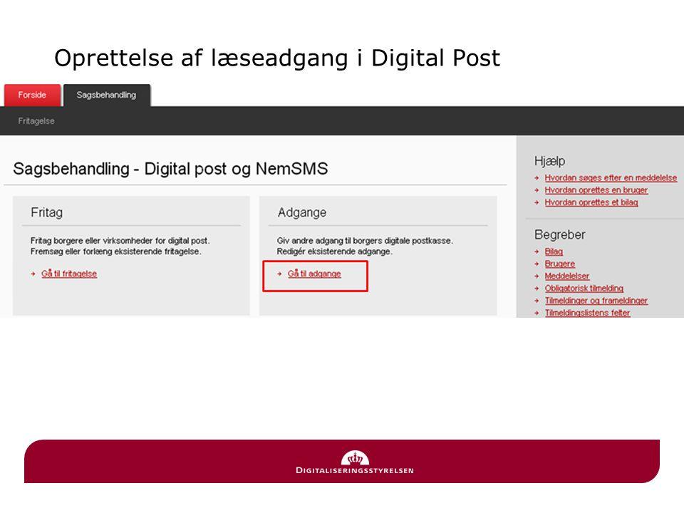 Oprettelse af læseadgang i Digital Post