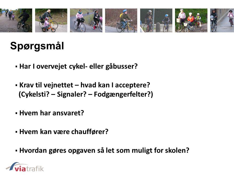 Spørgsmål Har I overvejet cykel- eller gåbusser