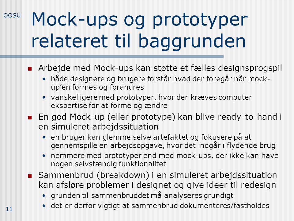 Mock-ups og prototyper relateret til baggrunden