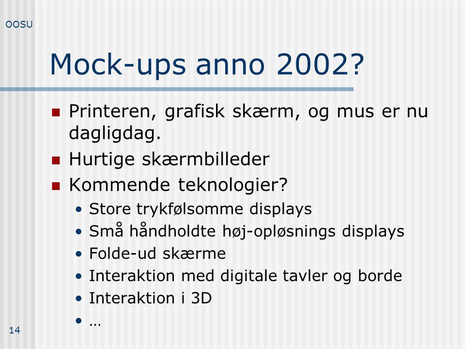 Mock-ups anno 2002 Printeren, grafisk skærm, og mus er nu dagligdag.