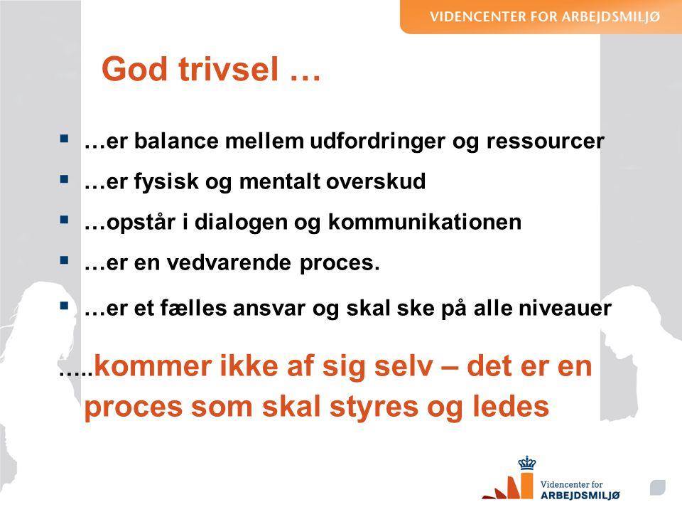 God trivsel … …er balance mellem udfordringer og ressourcer