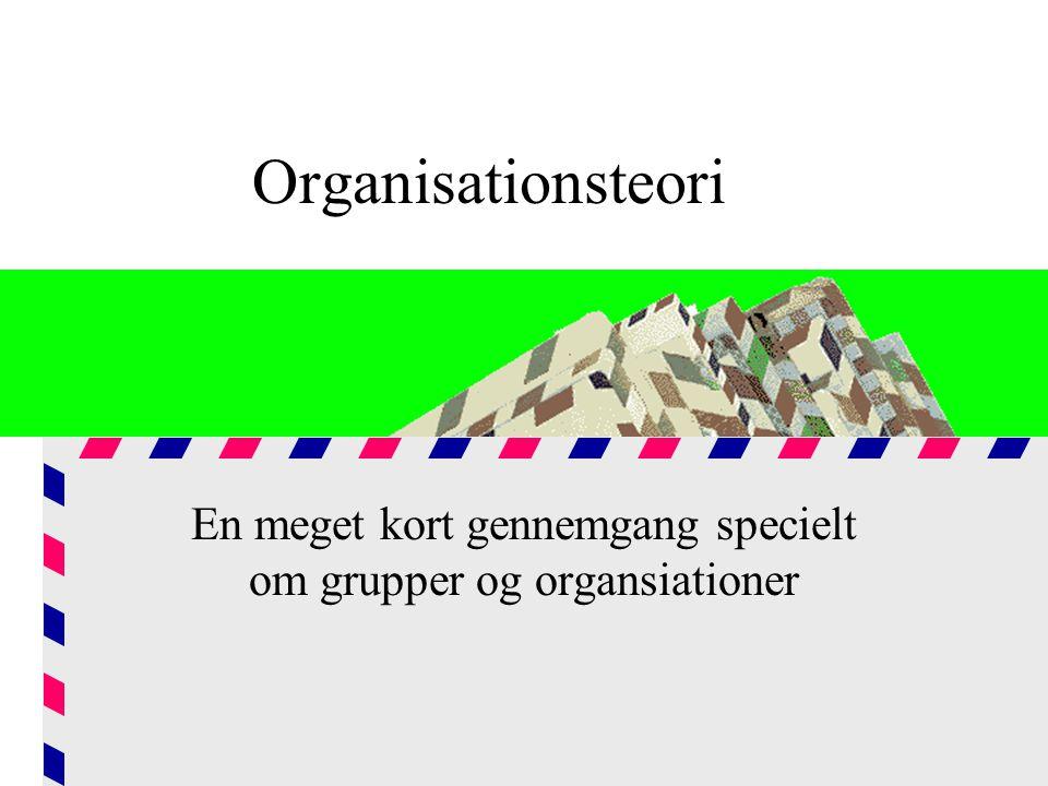 En meget kort gennemgang specielt om grupper og organsiationer