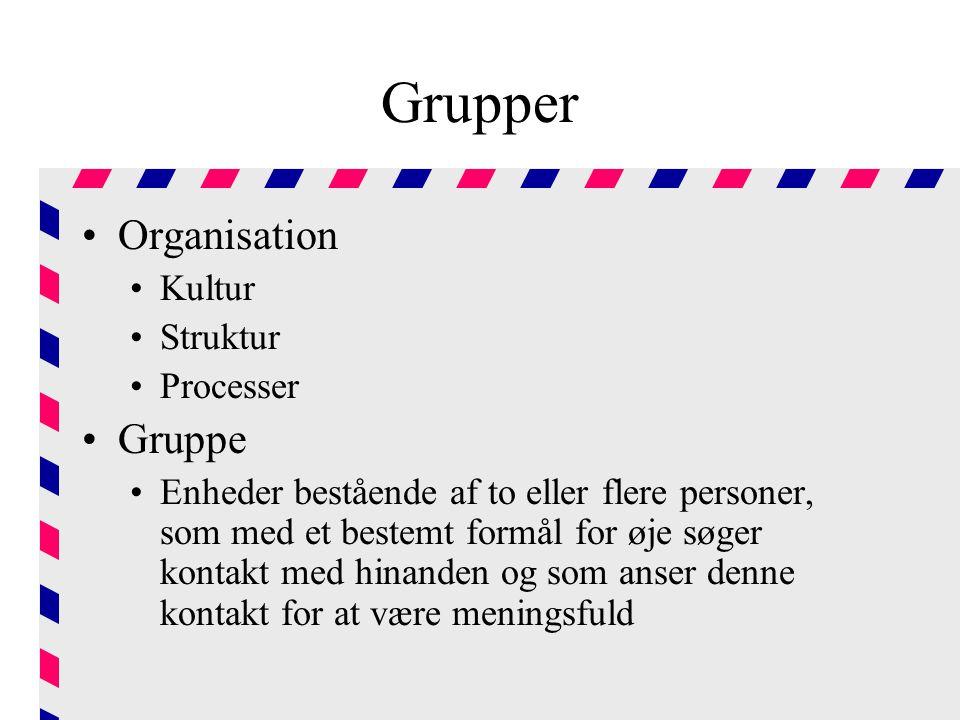 Grupper Organisation Gruppe Kultur Struktur Processer