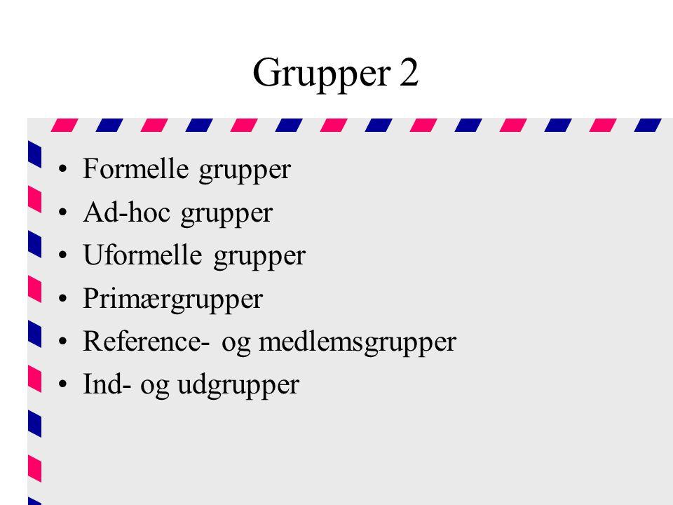 Grupper 2 Formelle grupper Ad-hoc grupper Uformelle grupper
