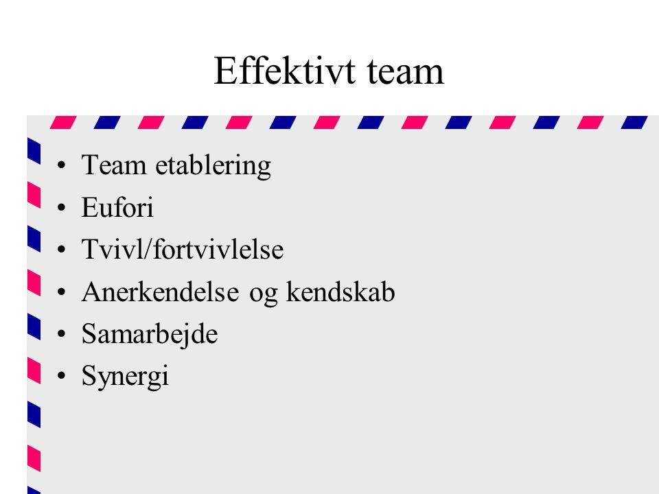 Effektivt team Team etablering Eufori Tvivl/fortvivlelse