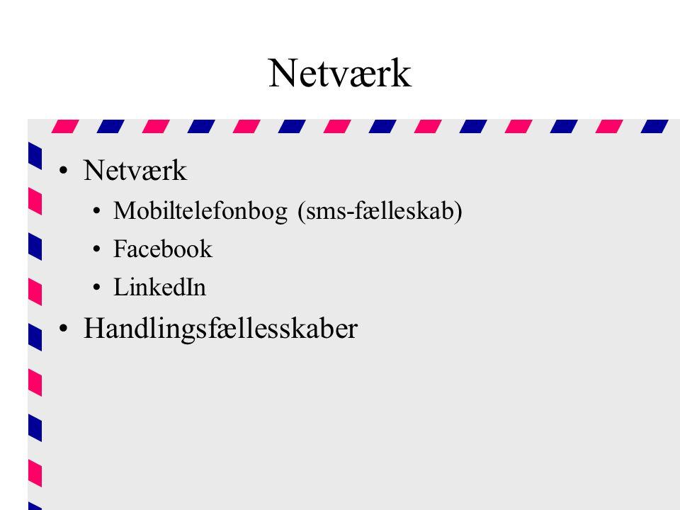 Netværk Netværk Handlingsfællesskaber Mobiltelefonbog (sms-fælleskab)