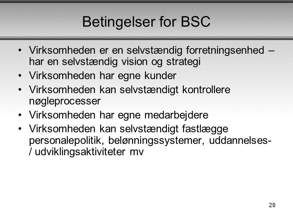 Betingelser for BSC Virksomheden er en selvstændig forretningsenhed – har en selvstændig vision og strategi.