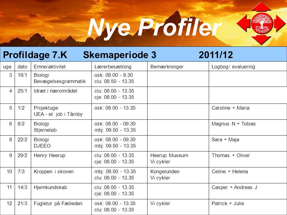 Nye Profiler Profildage 7.K Skemaperiode 3 2011/12 uge dato