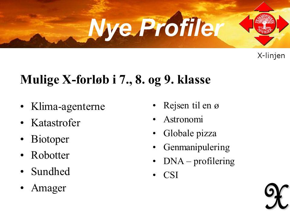 X Nye Profiler Mulige X-forløb i 7., 8. og 9. klasse Klima-agenterne