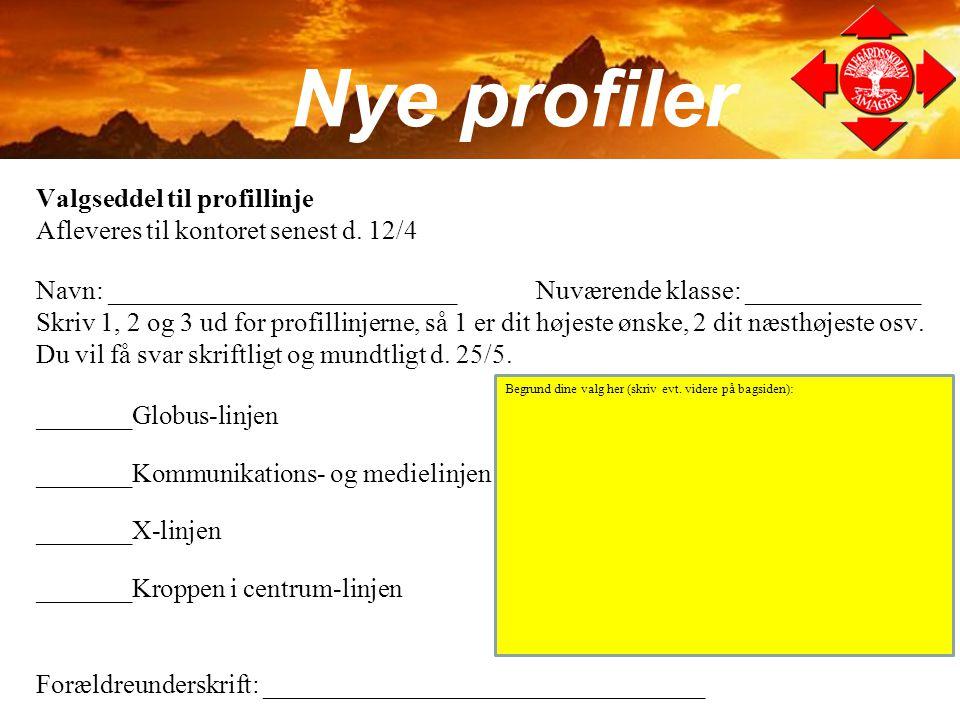 Nye profiler Valgseddel til profillinje