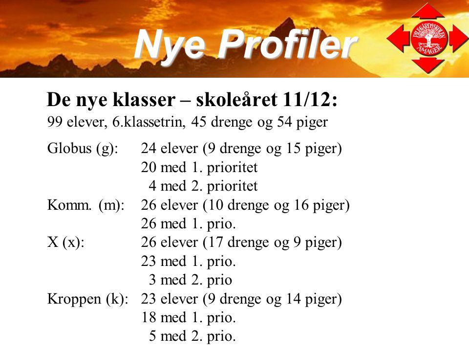 Nye Profiler De nye klasser – skoleåret 11/12: