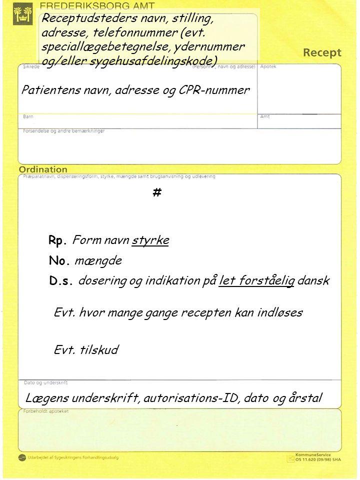 Patientens navn, adresse og CPR-nummer