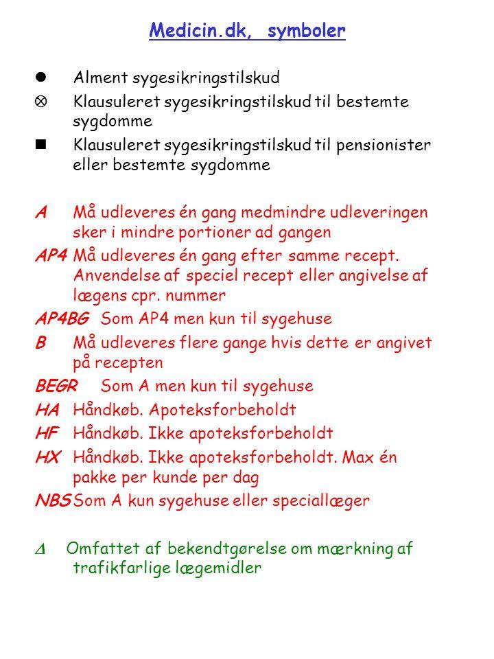 Medicin.dk, symboler  Alment sygesikringstilskud