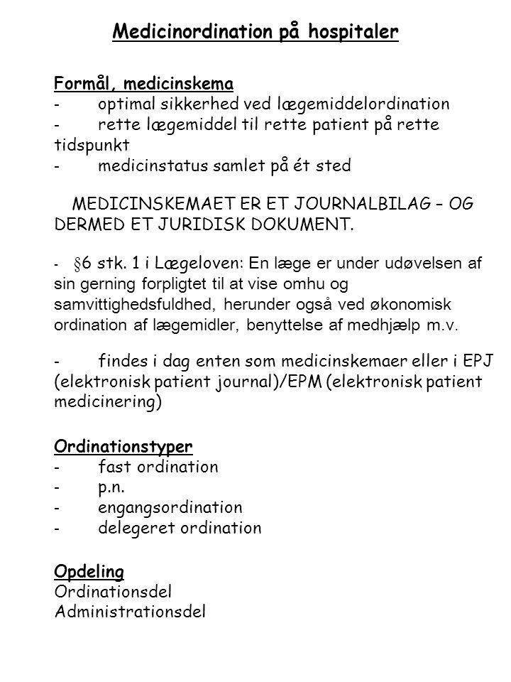 Medicinordination på hospitaler