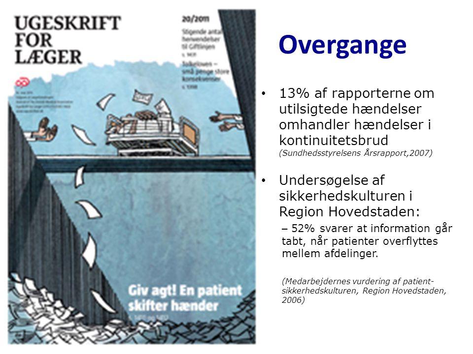 Overgange 13% af rapporterne om utilsigtede hændelser omhandler hændelser i kontinuitetsbrud (Sundhedsstyrelsens Årsrapport,2007)